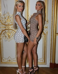 Ellie O'Donnell and Daisy O'Donnell attend Paris Hilton x Boohoo Party at Hotel Le Marois