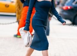 Diane Kruger wearing Bottega Veneta F19 look 42 and Mist Pouch (photo TheStewartofNY)