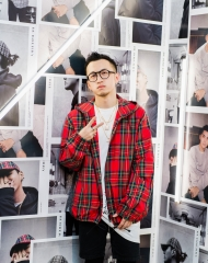 Yu Cong at an event to celebrate the launch of the Burberry x Kris Wu collection