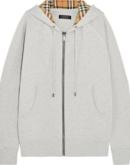 Burberry X Net-a-Porter. Grey Hoodie with Vintage Check Lining
