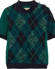 Burberry X Net-a-Porter. Teal Argyll Knit