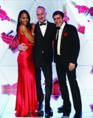 Campari Red Diares World Premiere . Zoe Saldana Director Stefano Sollima and Adriano Giannini (Photo by Vittorio Zunino Celotto/Getty Images)