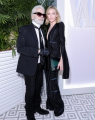 Cate Blanchett and Karl Lagerfeld at the Vanity Fair France and Chanel Dinner . ph by Francois Goize