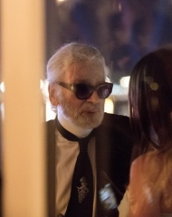 Karl Lagerfeld and Penelope Cruz at the Vanity Fair France and Chanel Dinner