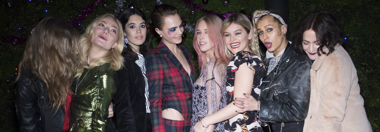 London: Clara Paget, Gala Gordon, Cara Delevingne, Mary Charteris, Alice Dellal and Jaime Winstone at the Burberry x Cara Delevingne Christmas Party at the Burberry for Cara Delevingne Christmas Party, London (Photo by Kirstin Sinclair/Getty Images for Burberry)