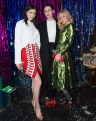 London: Amber Anderson, Clara Paget and Erin O\'Connor at the Burberry per Cara Delevingne Christmas Party, London (Photo by Kirstin Sinclair/Getty Images for Burberry)