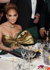 Jennifer Lopez wore a strapless, color-blocked Valentino