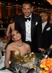Jennifer Lopez wore a strapless, color-blocked Valentino and Alex Rodriguez