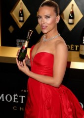 Scarlett Johnasson wore a plunging red gown by Vera Wang