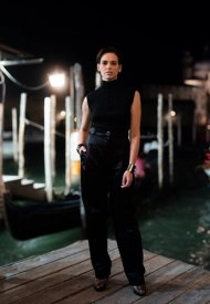 Sara Serraiocco wore Chanel at the Chanel dinner during the 78th Venice International Film Festival .  photo by Virgile Guinard