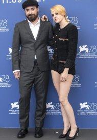 "Kristen Stewart and Pablo Larrain . Kristen Stewart  wore Chanel at the ""Spencer"" Première during the 78th Venice Film Festival . photo by Alessandra Benedetti - Corbis"