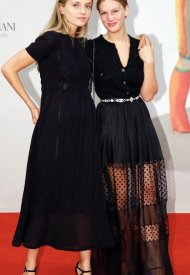 """Lou Lampros and Lucie Saada- Celebrities wearing Chanel at """"L'Évènement"""" Photocall at the 78th Venice International Film . photo by John Phillips"""