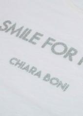 "Chiara Boni contro COVID-19. Le t-shirt ""Smile for Italy"" - woman"
