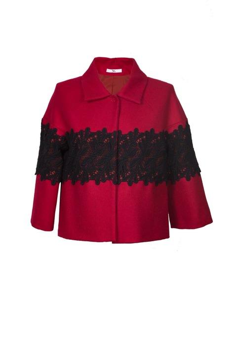 09 - X'S MILANO giacca rossa dettagli pizzo