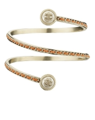 33 - Chanel Cruise Paris collection metal and orange leather arm bracelet with faux pearls