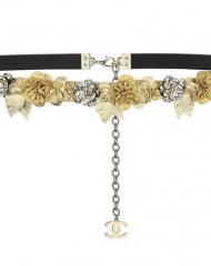 34 - Chanel Cruise Paris collection Golden leather belt embellished with flowers