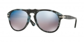 80 - Persol . lenti in cristallo: Havana blu e grigia con lente semi-specchiata azzurra e havana grigia e nera con lente semi-specchiata oro