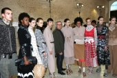 Piero Cividini and models . Backstage of the Cividini Spring Summer 2019 fashion show (photo by Giuseppe Spena)