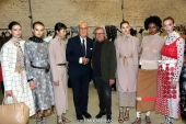 Mario Moselli with Piero Cividini and models -  Backstage of the Cividini Spring Summer 2019 fashion show