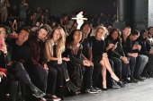 Hopper Penn, Dylan Penn, Tinashe, Stephen Gan, Yolanda Hadid, Fern Mallis, Stephen Wonderboy and Bonner Bolton attend Desigual fashion show during New York Fashion Week (Photo by Dia Dipasupil/Getty Images)