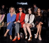 Sabina Socol, Armela Jakova, Marienne Mirage and Macarena García wearing Desigual clothing pose at Desigual fashion show during New York Fashion Week (Photo by Michael Loccisano/Getty Images For Desigual)