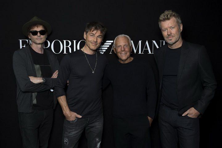 Giorgio Armani e A-ha at Emporio Armani Spring Summer 2018 (photo by Sgp)