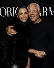 Giorgio Armani and Naomi Scott at Emporio Armani Spring Summer 2018 (photo by SGP)