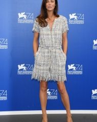 Anna Mouglalis, CHANEL Ambassador and member of the jury presided by Annette Bening, wore a grey tweed dress, look 1, from the Cruise 2017/18 collection - Photo Venturelli
