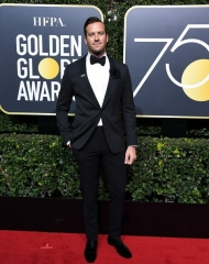 Armie Hammer in Giorgio Armani . Golden Globes (Photo by Steve Granitz)