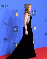 Jessica Chastain in Armani Privé Golden Globes (Photo by Venturelli)