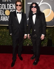 Greg Sestero and Tommy Wiseau in Burberry Golden Globes (Photo by Alberto E. Rodriguez)