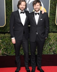 Ross Duffer wearing Burberry 8Golden Globes (Photo by)
