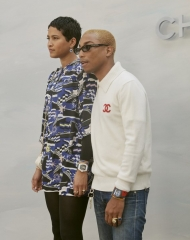 Helen Lasichanh with Pharrell Williams Fall Winter 2018-19 Chanel Haute Couture Collection
