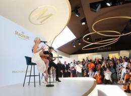 Rita Ora Andreas Kronthaler for Vivienne Westwood  during an intimate acoustic performance to celebrate MagnumÕs iconic range of expertly crafted ice creams #TrueToPleasure in Cannes. PRESS ASSOCIATION Photo. Picture date: Thursday May 16, 2019. Photo credit should read: Matt Alexander/Magnum/PA Wire