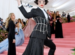 Ezra Miller wearing Buberry at the Metropolitan Museum of Art's Costume Institute Gala 2019 photo by Dia Dipasupil