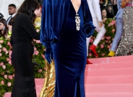 Irina Shayk wearing Buberry at the Metropolitan Museum of Art's Costume Institute Gala 2019 photo by Dia Dipasupil
