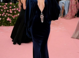 Irina Shayk wearing Buberry at the Metropolitan Museum of Art's Costume Institute Gala 2019 photo by Neilson Barnard