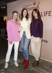 "Michelle Hunziker and Sian Thomas, Vanessa Occhetti. Day 1: Triumph ""Design For Life: Fit Smart"" Launch Event In Berlin"