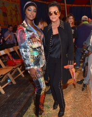 BURBANK, CA - JUNE 08:  Justine Skye (L) and Kris Jenner attend the Moschino Spring/Summer 19 Menswear and Women's Resort Collection at Los Angeles Equestrian Center on June 8, 2018 in Burbank, California.  (Photo by Donato Sardella/Getty Images for Moschino)