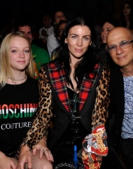 BURBANK, CA - JUNE 08:  (L-R) Skyla Sanders, Liberty Ross, and Jimmy Iovine attend the Moschino Spring/Summer 19 Menswear and Women's Resort Collection at Los Angeles Equestrian Center on June 8, 2018 in Burbank, California.  (Photo by John Sciulli/Getty Images for Moschino)