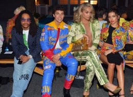 (L-R) Luka Sabbat, Austin Mahone, Jasmine Sanders, and Isabela Moner attend the Moschino Spring/Summer 20 Menswear and Women's Resort Collection at Universal Studios Hollywood