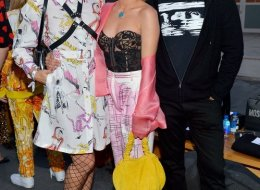 Nikia Provenzano, Frances Bean Cobain, and Eli Roth attend the Moschino Spring/Summer 20 Menswear and Women's Resort Collection at Universal Studios Hollywood on
