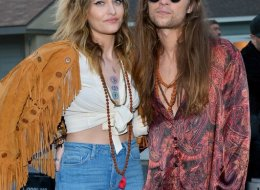 (L-R) Paris Jackson and Gabriel Glenn attend the Moschino Spring/Summer 20 Menswear and Women's Resort Collection at Universal Studios Hollywood