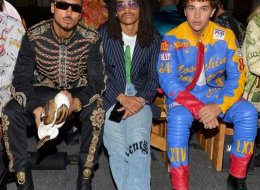(L-R) Quincy, Luka Sabbat, and Austin Mahone attend the Moschino Spring/Summer 20 Menswear and Women's Resort Collection at Universal Studios Hollywood