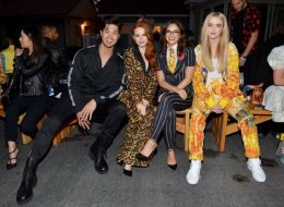Ross Butler, Madelaine Petsch, Camila Mendes, and Kathryn Newton attend the Moschino Spring/Summer 20 Menswear and Women's Resort Collection at Universal Studios Hollywood