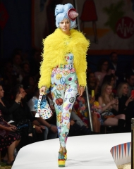 A model walks the runway during the Moschino Spring/Summer 19 Menswear and Women\'s Resort Collection at Los Angeles Equestrian Center on June 8, 2018 in Burbank, California.
