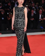 Clemence Poesy wore Chanel at 75th Venice International Film Festival (photo Daniele Venturelli; )