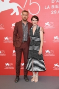 Claire Foy and Ryan Gosling . Claire Foy wore Chanel at the First Man photocall during the 75th Venice Film Festival - photo by  Daniele Venturelli