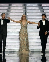 Michelle Hunziker in Alberta Ferretti, Claudio Baglioni in Ermanno Scervino, Nicola Favino in Salvatore Ferragamo. Sanremo 2018 (photo by Angelo Trani)