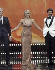 Claudio Baglioni, Michelle Hunziker in Giorgio Armani Privè, Pierfrancesco Favino in Ermenegildo Zegna Couture . Sanremo (photo Angelo Trani)